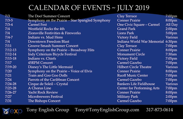 Events in Indianapolis in July, 2019