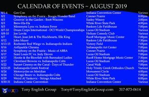 Calendar of events | Indianapolis | August, 2019
