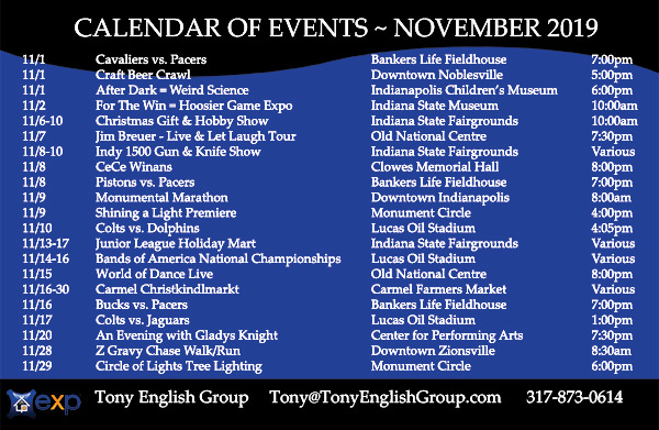 November, 2019 events in Indianapolis, Indiana